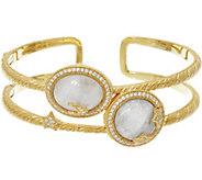 Judith Ripka Sterling &_14K Clad_Moon & Stars_Moonstone Cuff Bracelet - J333511