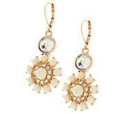 As Is Susan Graver Floral Cabochon Earrings in Goldtone - J334511