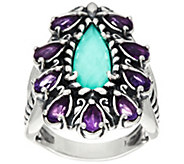 Carolyn Pollack Sterling Silver Amethyst & Turquoise Doublet Ring - J334911
