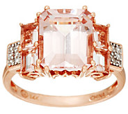 Emerald Cut Morganite & Pave Diamond Ring, 14K Gold 3.35 cttw - J335711