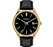 Caravelle New York Mens Black Leather Band Watch - J336811