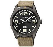 Seiko Mens Black Ion-Finish with Tan Nylon Strap Watch - J337511