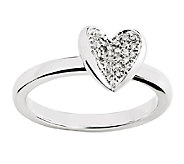 Simply Stacks Sterling Pave Diamond Heart Ring - J338911