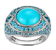 Judith Ripka Sterling Blue Chalcedony & Diamonique Ring - J340011