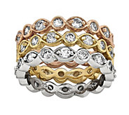 Sterling & 14K Gold-Plated Crystal Eternity Band Trio - J342111