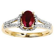Oval Gemstone and Diamond Ring, 14K Gold - J342211