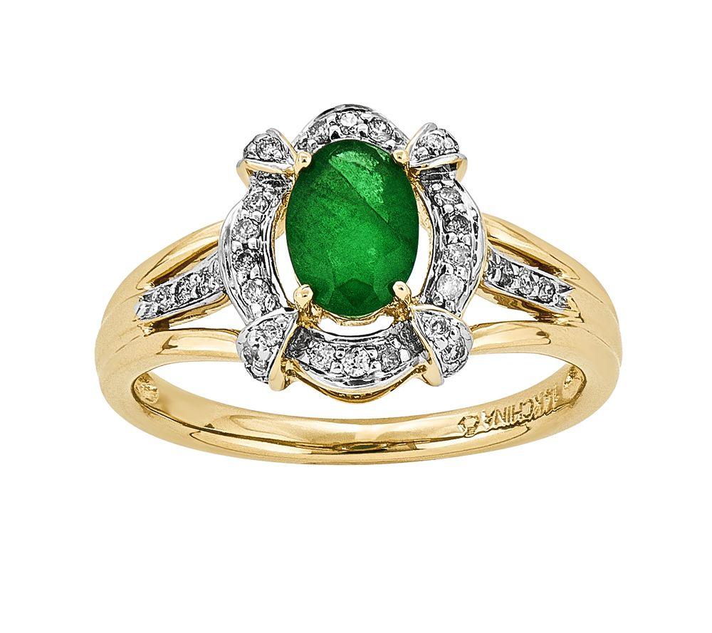 14k emerald halo ring qvc