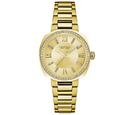 Caravelle New York Womens Goldtone Watch withChampagne Dial - J344211