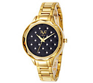 V19.69 Italia Womens Goldtone Watch with Black Quilted Dial - J344511