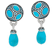 Judith Ripka Sterling Blue Topaz & Turquoise Drop Earrings - J346711