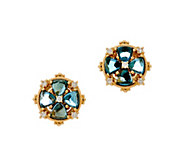 Judith Ripka 14K Gold Gemstone & Diamond Floral Earrings - J347911