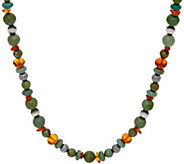 Sterling Silver Amber and Green Turquoise Bead Necklace by American West - J348811