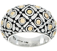 Artisan Crafted Sterling Silver & 18K Gold Bold Domed Band Ring - J349911