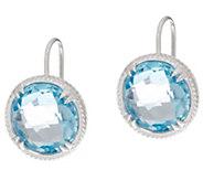 DeLatori Sterling Silver Green Quartz or Blue Topaz Drop Earrings - J352511