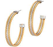 As Is ALOR Stainless Steel Two-Toned Hoop Earrings - J355411