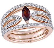 1 cttw Garnet and White Topaz Ring Jacket Set,Sterling - J375311