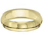 Mens 18K Yellow Gold 6mm Milgrain Wedding Band - J376211