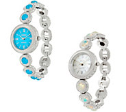 Ecclissi Facets Stainless Steel Ethiopian Opal or Turquoise Watch - J58011