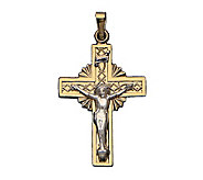 14K Gold Sunburst Cross Pendant with Crucifix - J108212