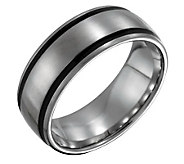 Forza Mens 8mm Steel with Black Accent SatinRing - J109512