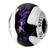 Prerogatives Sterling Purple & White Italian Murano Glass Bead - J111812