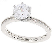 As Is Diamonique 100-Facet 2.05 ct tw Eternal Love Ring, 14K - J131712