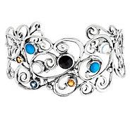 Carolyn Pollack Multi-Gemstone Swirl Design Sterling Cuff - J278712