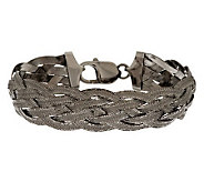 Vicenza Silver Sterling 8 Diamond Cut Braided Woven Bracelet, 16.0g - J278912
