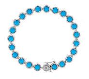 Sleeping Beauty Turquoise Sterling Silver 7-1/4 Tennis Bracelet - J279812