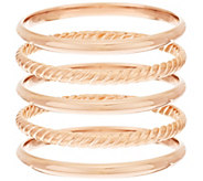 Bronzo Italia Avg. Set of 5 Polished & Rope Textured Round Bangles - J281412