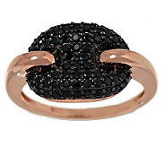 VicenzaSilver Sterling 0.50 cttw Black Spinel Status Link Ring - J285512