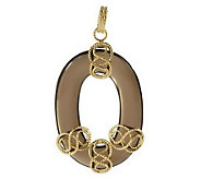 As Is Vicenza Gold Oval Gemstone Figure Eight Pendant, 14K - J286612