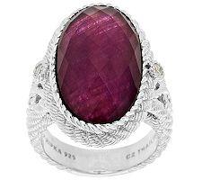 Judith Ripka Sterling Ruby Doublet & Diamonique Oval Ring