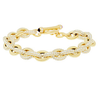 Product image of Judith Ripka Sterling & 14K Clad 10.50cttw Pave Diamonique Toggle Bracelet