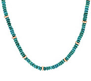 Bronze 16 Turquoise & Bead Necklace by Bronzo Italia - J296012
