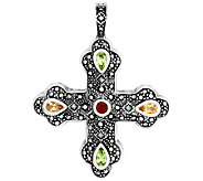 Suspicion Sterling Marcasite & Multi-Gemstone Cross Enhancer - J309812
