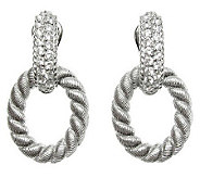 Judith Ripka Sterling Silver Diamonique Oval Earrings - J312312