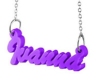 Acrylic Name Plate Necklace, Sterling - J315212
