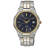 Seiko Mens Two-Tone Solar Blue Dial Dress Watch - J315512