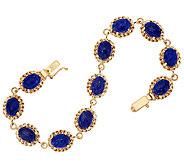 14K Gold 6-3/4 Woven Border Lapis Tennis Bracelet, 9.0g - J319512