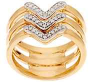 14K Gold Triple Band Chevron Design Diamond Ring, 1/5 cttw - J322312