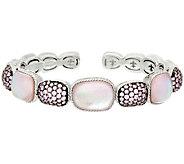 Judith Ripka Sterling Pink_Doublet & Pave Cuff Bracelet - J322512