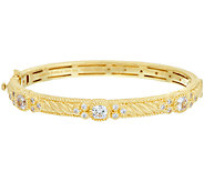 Judith Ripka Sterling & 14K Clad Diamonique Bangle Bracelet - J325612