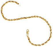 14K Gold 7-1/4 Diamond Cut Rope Chain Bracelet - J327312