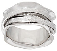 As Is Italian Silver Sterling Polished and Textured Spinner Ring - J329012