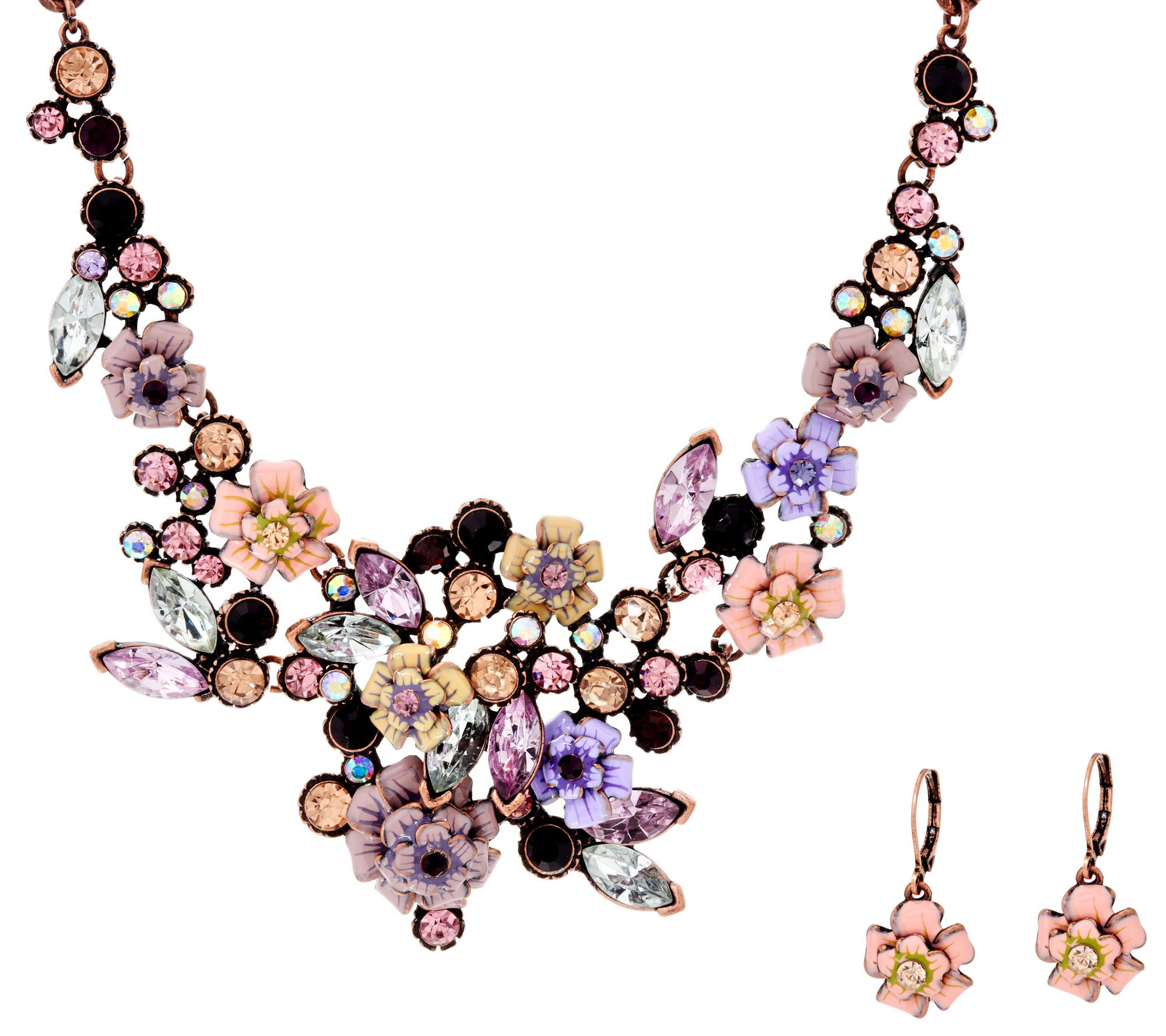 Joan rivers language of flowers rose necklace and earrings for Joan rivers jewelry necklaces