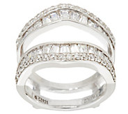 Diamonique Baguette Insert Ring, Platinum Clad - J330812