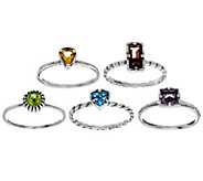 Sterling Silver 2.80 cttw Set of 5 Gemstone Rings by Or Paz - J333412