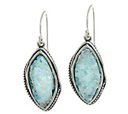 Sterling Silver Beaded Texture Roman Glass Drop Earrings by Or Paz - J333612