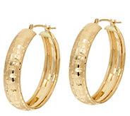 As Is EternaGold 14K Basket Weave Pattern 1 Hoop Earrings - J333812